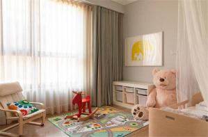 双层儿童房窗帘效果图