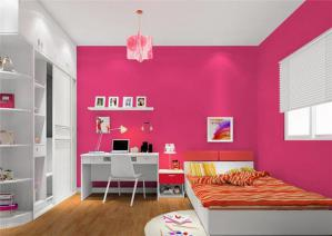枚红色儿童房墙纸效果图