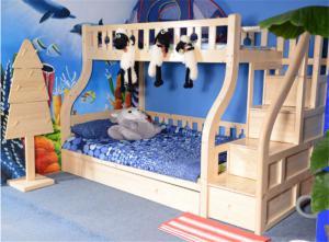 松木家具儿童房双层床效果