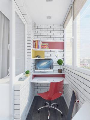 简单的阳台改书房效果图