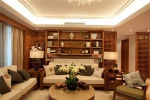 中式复古小户型客厅书柜