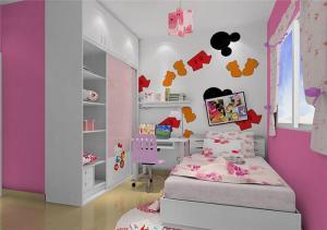 儿童卧室转角书桌加衣柜