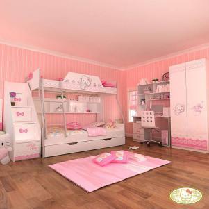 粉色上下床带衣柜
