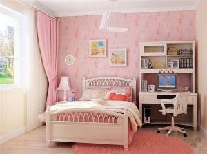 粉色儿童房墙纸效果图