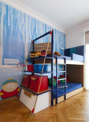上下床两个孩子儿童房设计