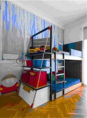 上下床儿童房装修效果图男