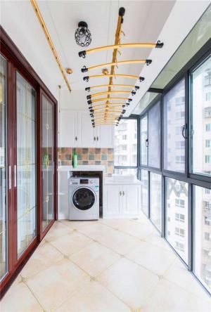 简单阳台洗衣池效果图