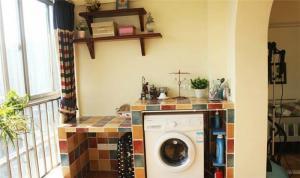 彩色瓷砖洗衣机放阳台效果