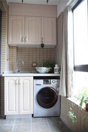 洗衣机放阳台效果图柜子设
