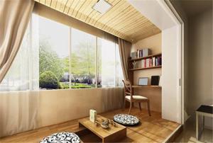 日式小阳台改书房效果图