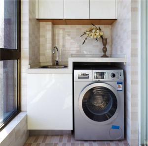 白色柜子洗衣机放阳台效果图