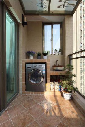 现代风格洗衣机放阳台效果