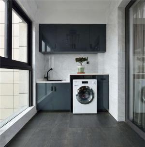简约阳台洗衣池效果图