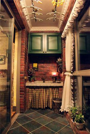 美式复古阳台洗衣池效果图