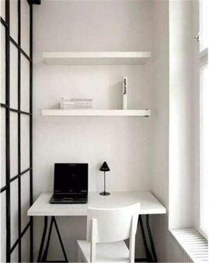 黑白家具小阳台改书房效果