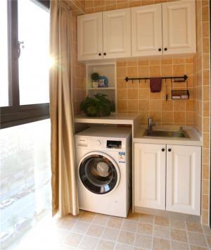 洗衣机放阳台效果图家具定