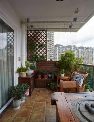 家装阳台防腐木效果图