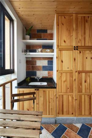 阳台防腐木效果图家具设计