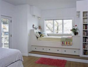 飘窗小阳台改卧室效果图