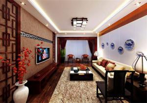 古典新中式客厅电视背景墙
