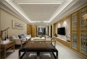 新中式客厅电视背景墙多少