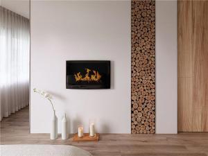 日式背景墙挂式电视