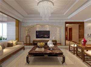 大户型新中式客厅电视背景