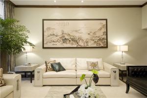 新中式客厅电视背景墙沙发