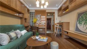 日式背景墙绿色布艺沙发