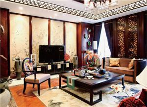 新中式客厅电视背景墙高清