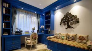 蓝色床创意书柜