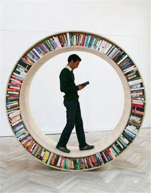 圆形可滚动创意书柜