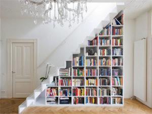 楼梯间创意书柜墙